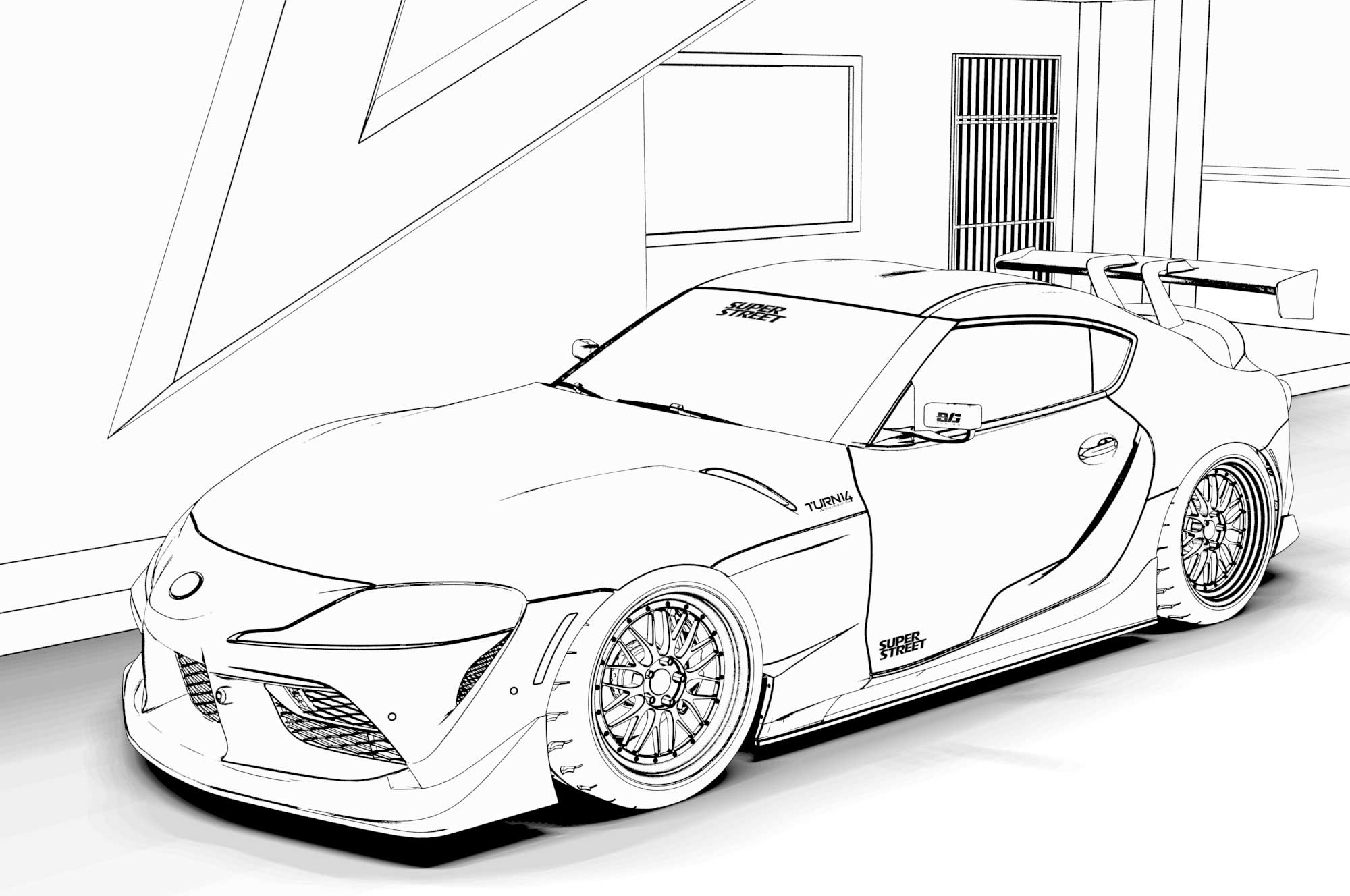free car colouring pages: downloads of ferrari f40, toyota